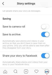 Instagram Story settings insert into Facebook