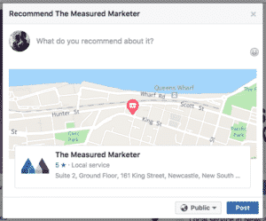 Facebook recommendation The Measured Marketer write Reviews